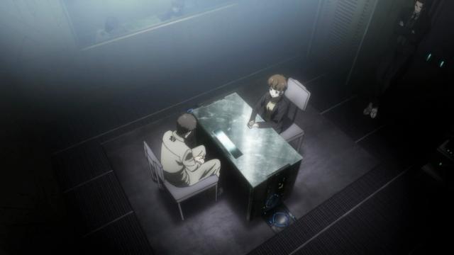 Tsunemori interrogando de Kitazawa, com Togane de acompanhante