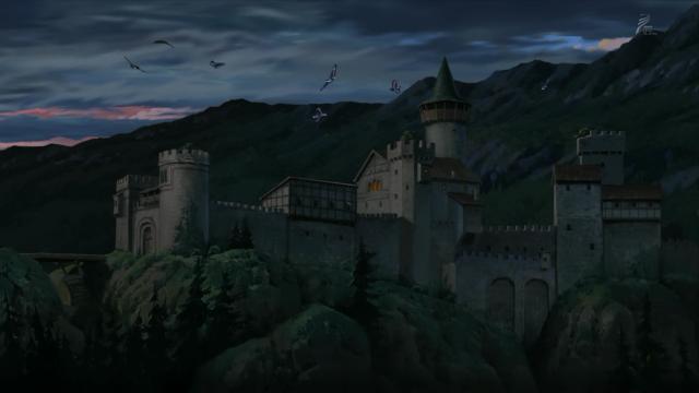 Uma panorâmica do castelo do bando do Mattis com uma revoada de harpias rindo assustadoramente