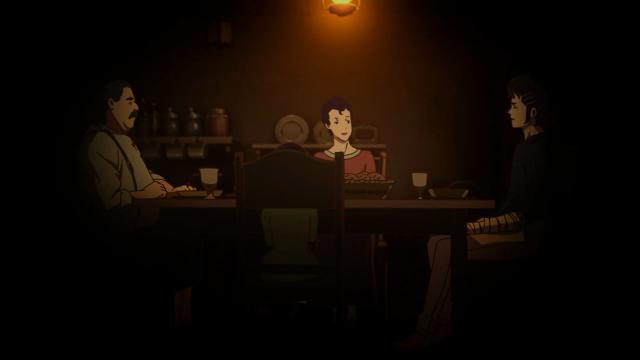 Kaisar comendo com Rita e sua família. Ou só com a família, já que Rita não comeu