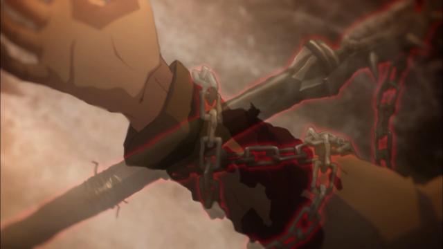 Isso preso no braço de Shirou estava mirado na cabeça de Rin