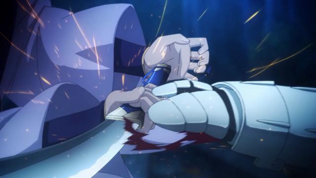 Cuidado nos detalhes: Saber usou sua manopla metálica como vantagem para segurar a espada de Assassin e atacá-lo indefeso, mas antes disso ele bateu com a mão na base da empunhadura deslocando a lâmina e cortando a mão dela