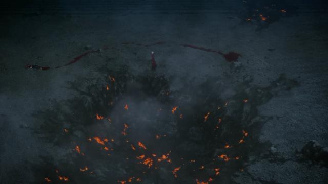 Olha esse rastro de sangue que o Shirou deixou enquanto rasteja. Ele tem mais sangue que um cavaleiro do zodíaco