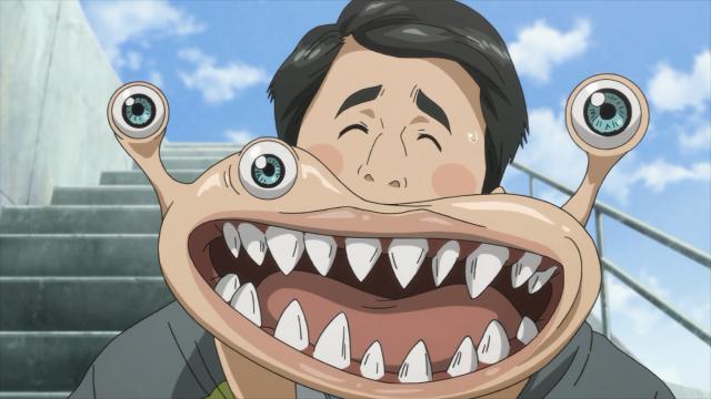 Mamoru Uda é como Shinichi, seu parasita não se alojou no cérebro, então eles vivem em simbiose