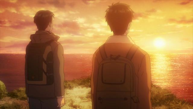 Shinichi e o pai conversam ao pôr do sol depois dele receber alta do hospital