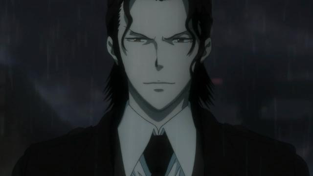 Togane faz essa expressão maligna de pessoa má enquanto diz à Tsunemori que só ela pode resolver o caso Kamui