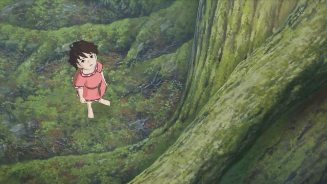 Ronja olha melancólica para o galho onde viu Birk na floresta pela primeira vez
