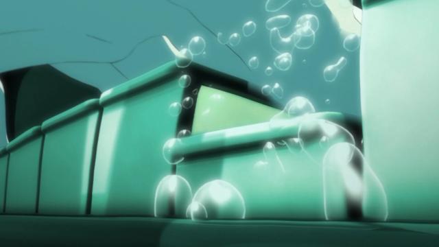 Kousei sente-se tocando embaixo de um profundo oceano