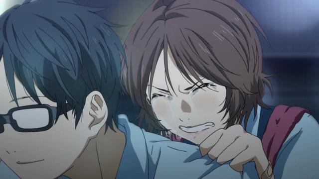 Tsubaki chora enquanto Kousei a carrega para casa após ela se machucar na partida de softbol que ela perdeu por culpa dela mesma