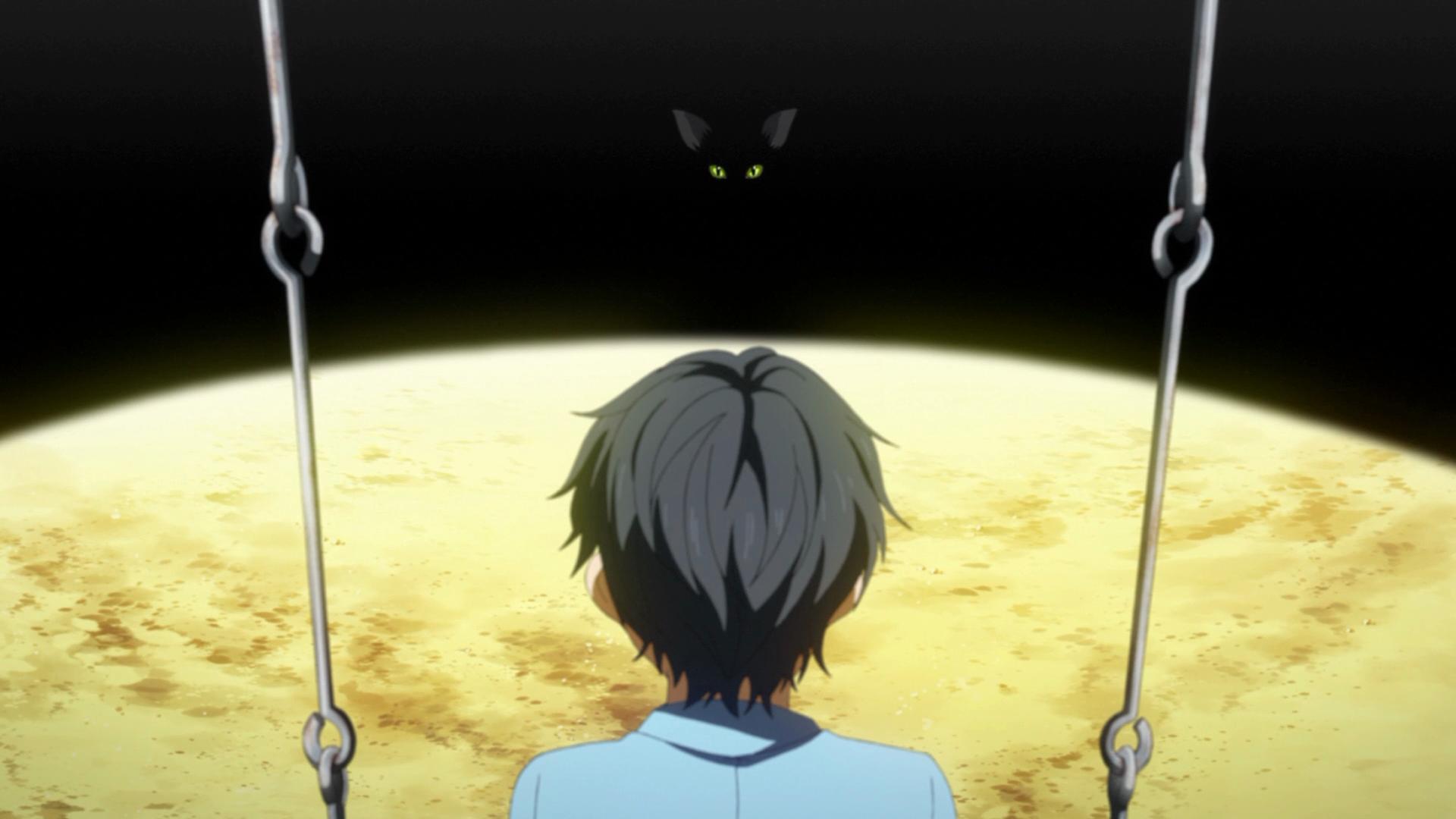 Kousei sentado em um balanço na lua conversando com o gato preto de Cheshire