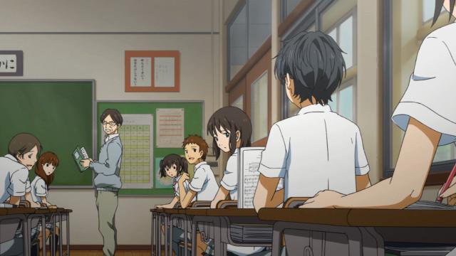 Kousei ensaia durante a aula batucando na carteira - o que irrita o professor