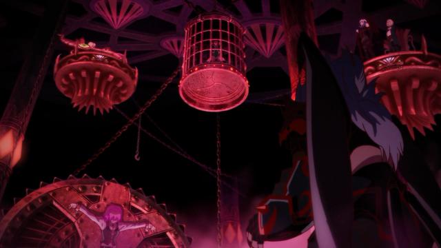 """Um panorama do local onde Kaisar e Amira são mantivos prisioneiros, no instante em que Kaisar diz que a culpa é toda do """"demônio"""" Favaro. E os demônios de verdade gargalham impiedosamente"""