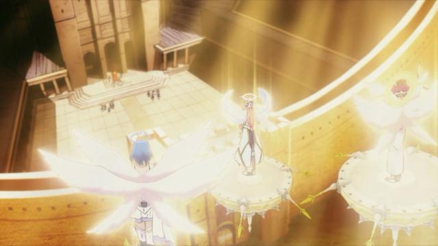 Três anjos (ou deuses) aparecem sobre a capital para instruir os humanos sobre como agir com Amira e os demais cativos