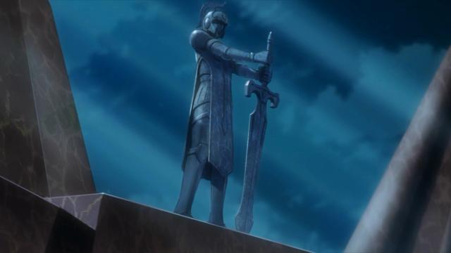O herói que derrotará o Bahamut quando ele despertar. Ele está em escala natural, será que a espada que ele segura é real e será usada?
