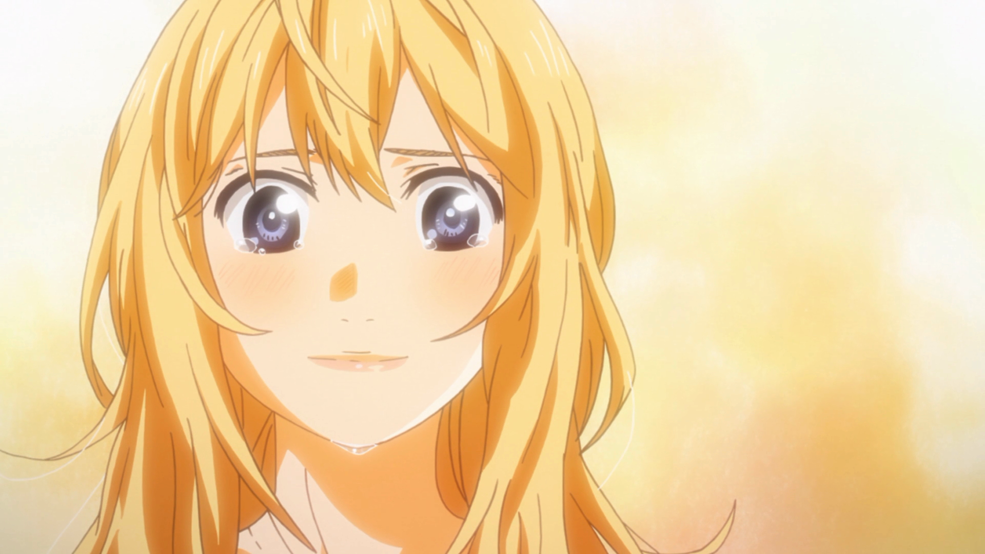 Kaori chora de emoção durante a apresentação de Kousei. Ela ser o único personagem que faz sentido no episódio é um mau sinal.