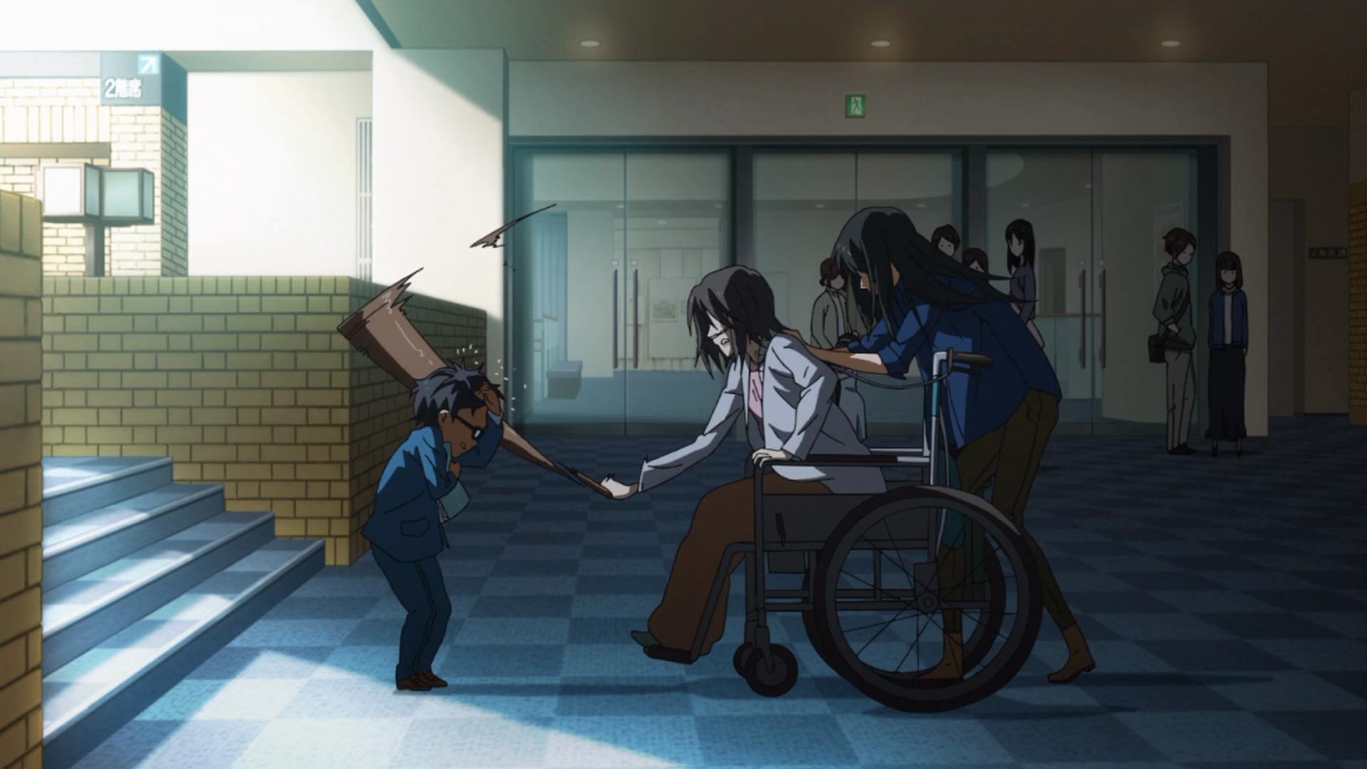 A mãe de Kousei o espancando em público com uma bengala