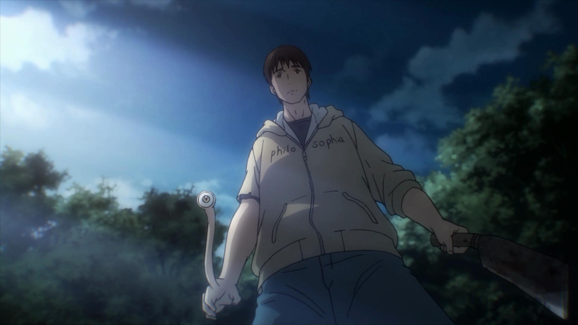 Shinichi prestes a matar outro ser vivo apenas para preservar a sua própria vida