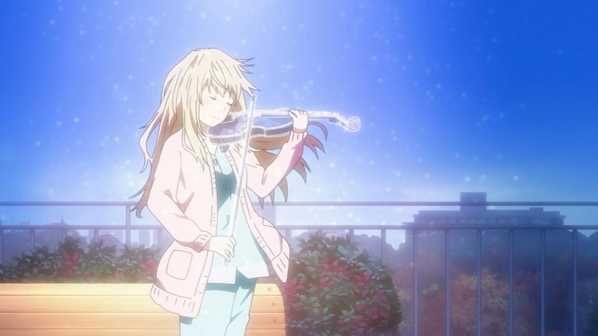 O Sol brilha para Kaori tocar para Kousei o violino de sua alma.