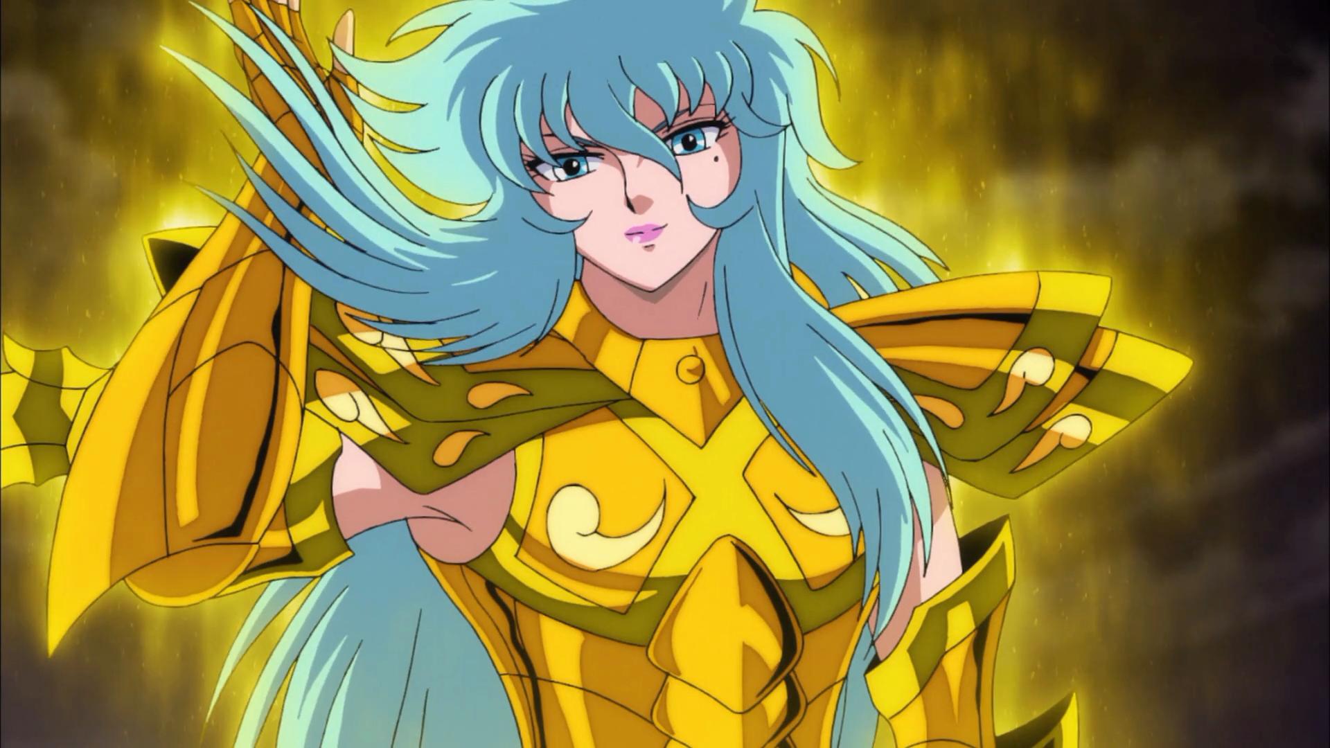 Ainda é a armadura normal, mas Afrodite já está divino nesse episódio
