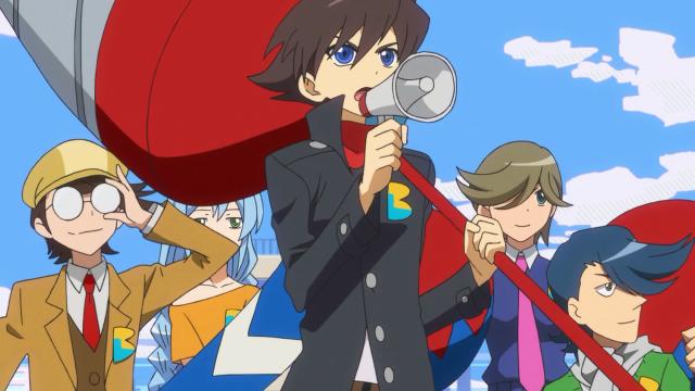 O Escritório de Detetives Secretos BL com seu líder Daitetsu Maki / Yumihiko Otonashi de megafone em mãos