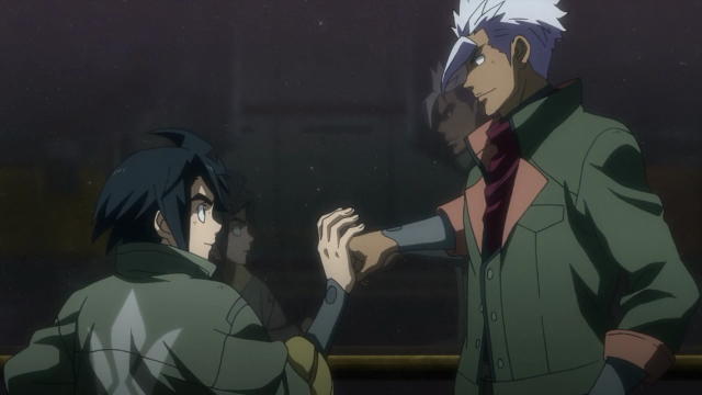 Mikazuki e Orga conversam com o espaço infinito ao fundo