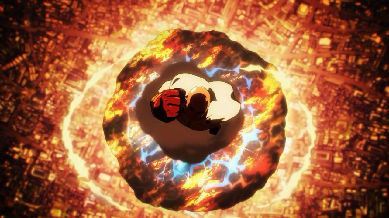 Saitama destrói o meteoro que Genos e Metal Knight (herói de classe S) não haviam conseguido sequer atrasar