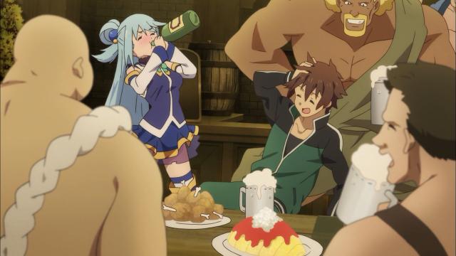 Aqua e Kazuma se entrosaram muito bem nesse novo mundo