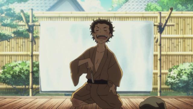 O pequeno Sukeroku se apresentando para convencer o mestre Yakumo, parecido com o Yotarou