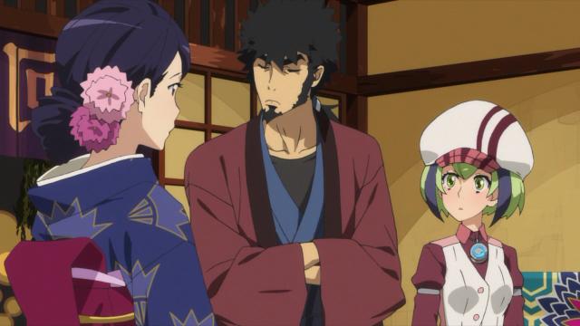 A cunhada de Kyouma junto dele e de Mira