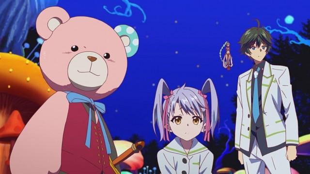 Albrecht, Ruru e Haruhiko acompanhando Kurumi no mundo que sua mente criou.