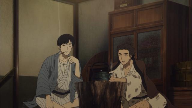 Yakumo e Sukeroku em sua casa