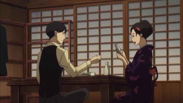 Yakumo e Miyokichi, juntos sob pretexto dele ensiná-la coisas como dança e música