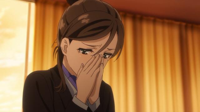 A reação da professora Ogawara quando descobriu porque o professor Sakai se afastou