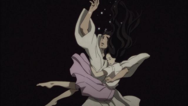 O casal mergulha para a morte com o peso de todos os arrependimentos que acumularam em suas vidas; e um olhar fixo e um braço estendido para cima implorando para que Yakumo cuide de tudo
