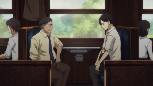 No trem, falando sobre o Yakumo