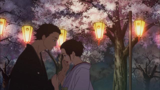 Sukeroku e Miyokichi se encontram, ambos com o coração partido
