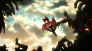 Mumei salta para derrotar a colônia fundida depois de seu coração ser exposto por um tiro de canhão