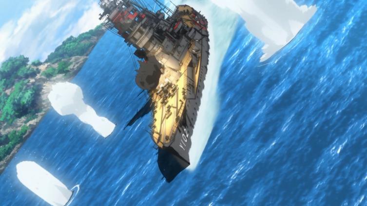 O Hiei é guiado pelos torpedos do Harekaze para águas rasas e contra-ataca com seus canhões