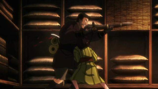 """Mumei mata o homem que matou sua mãe com a espada que Biba jogou para """"salvá-la"""""""