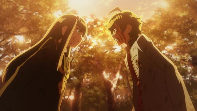 Sob um filtro pesado que indica mudança de tom no anime, Rokuro e Benio decidem ficar mais fortes juntos