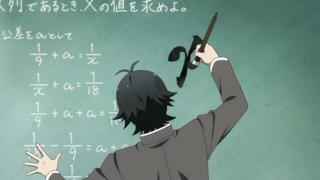 """O detalhe divertido dessa cena é que o anime terá 12 episódios, """"x = 12"""", entendeu? É, não foi tão divertido assim"""