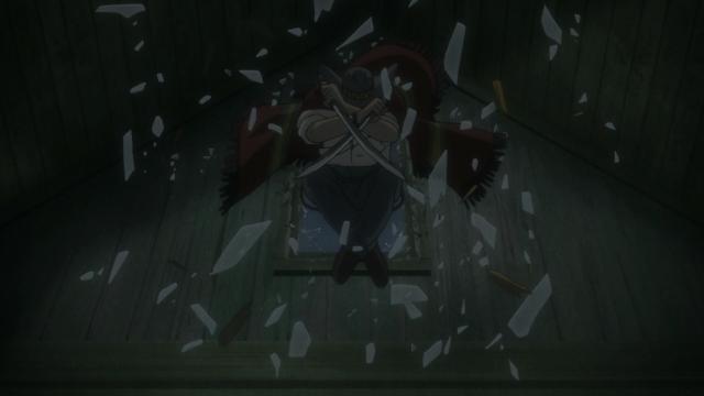 Um gigante que salta pela janela empunhando dois facões