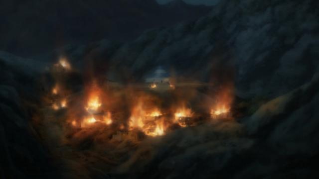 A outra vila em chamas no começo do episódio 9 estava melhor animada