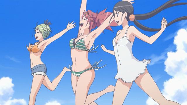 Para ser justo, acho que só a Ai está usando biquíni. A Hikari está de top e mini-short e a Futaba está de camisola