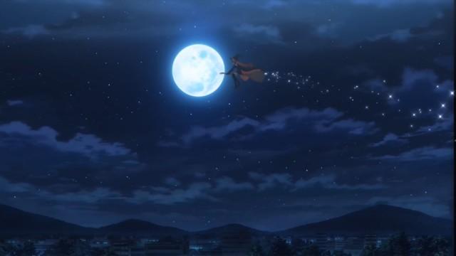 É um pássaro? É um avião? Não! É somente uma mahou shoujo vestida com uma clássica roupa de bruxa.