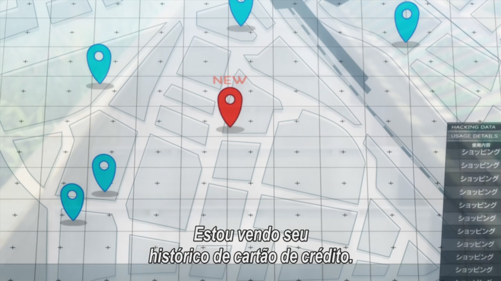Através de uma tela holográfica, Noro mostrou para Hanasaki a localização de Kobayashi.