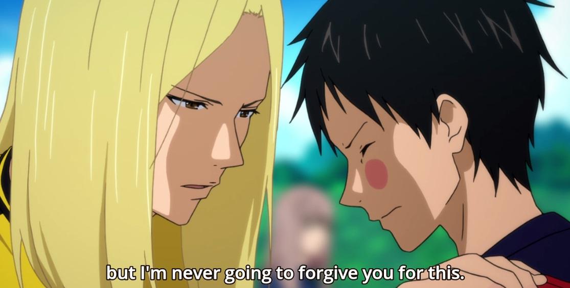 Para piorar, Kazama ainda diz que nunca perdoará o Tsukushi.