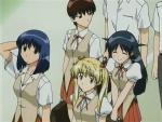 Akira (acima), e Tenma, Eri, e Mikoto (sentido horário), amigas inseparáveis.