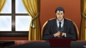 """O pai adotivo de Hanasaki escolhendo um relógio em meio a sua """"coleção""""."""