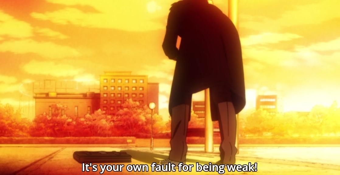 E Kiriyama ficou revoltado depois de tudo. O que mais o fez pensar foram os comentários da Kyouko, e percebeu que ele nem é bonzinho, e muito menos não é culpa dele pelos outros terem perdido.