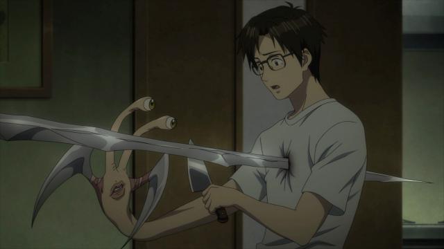 O espectador sabia, mas Shinichi não fazia ideia em Parasyte (Kiseijuu)